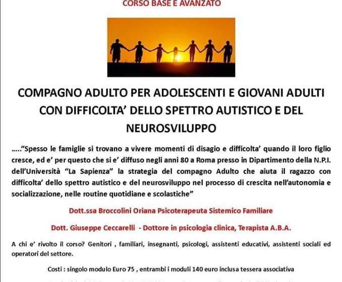 Corso Compagno Adulto per adolescenti e giovani adulti dello spettro autistico e disturbi del neurosviluppo